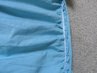 diy ruched duvet - stitch gathers