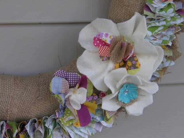 spring wreath - felt flowers