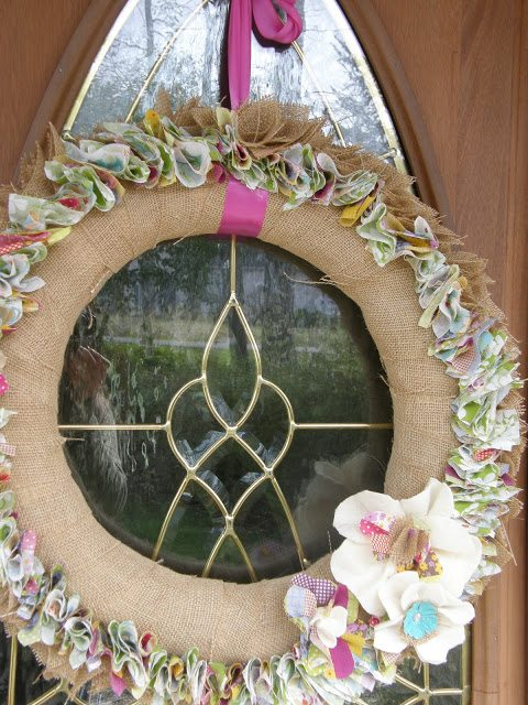 Easy to Make Spring Wreath made with fabric and burlap ribbon.