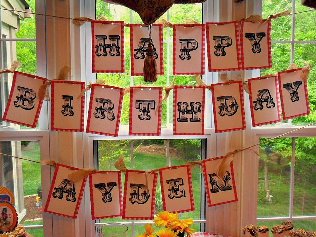 Farm Birthday Party Ideas - Birthday banner from butcher wrap and rope