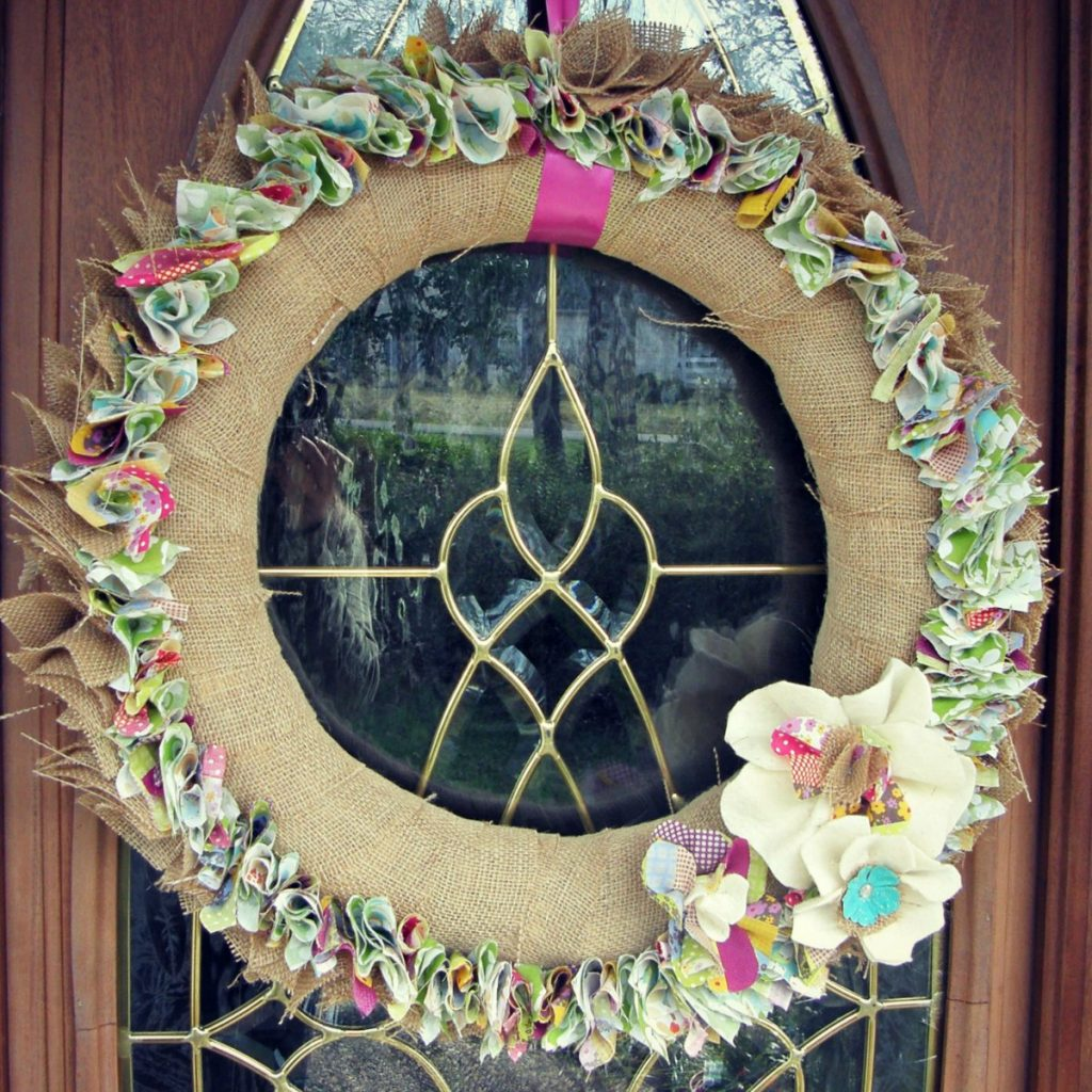 burlap wreath spring - feature