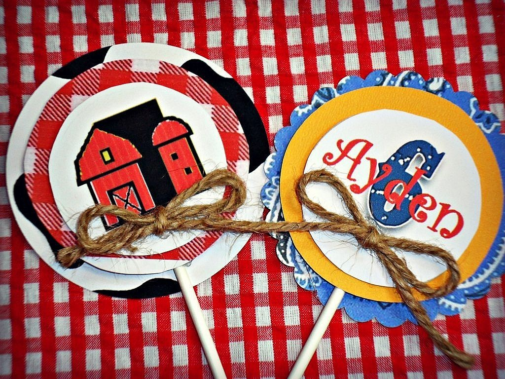 Farm Birthday Party Ideas - Cupcake Toppers