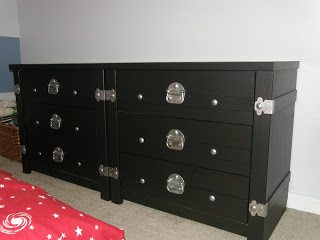 dresser makeover - with black and silver hardware