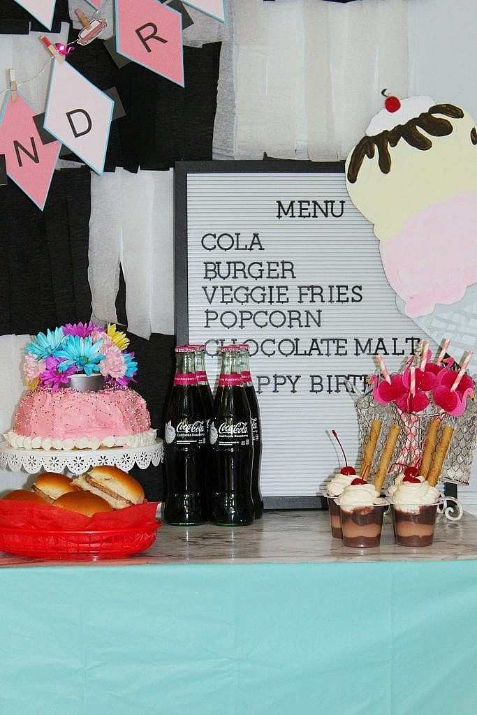 birthday-party-50s-sock-hop - diner menu board and desserts