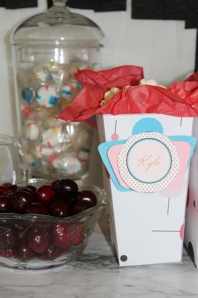 birthday-party-50s-sock-hop - large snack box and cherries