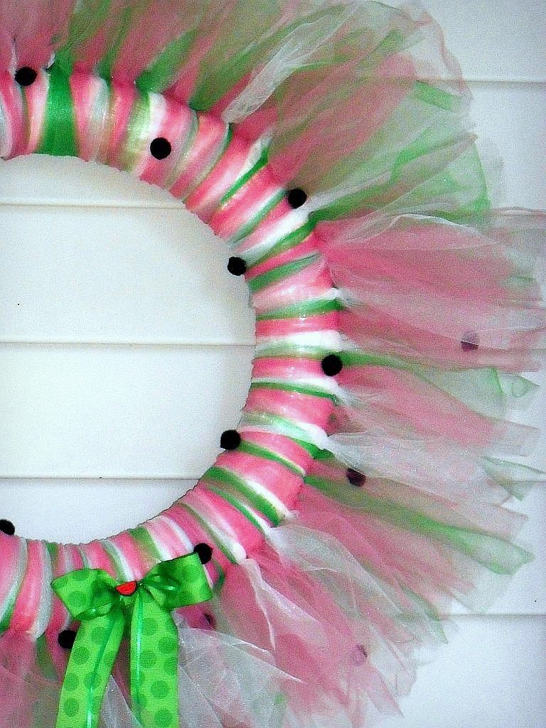 Tulle Watermelon Door Wreath with pompom seeds