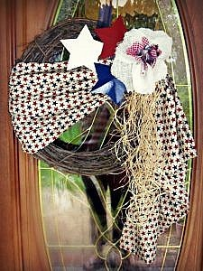 How to Make a Patriotic Wreath with Red, White and Blue Decorations