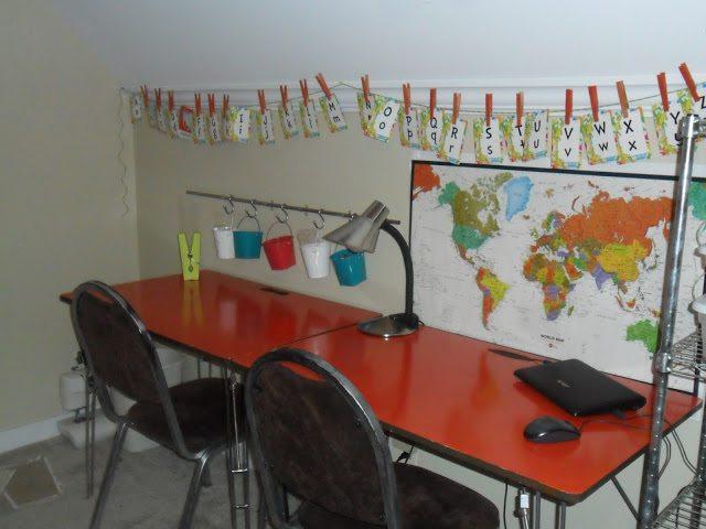 homeschool classroom - desk area makeover