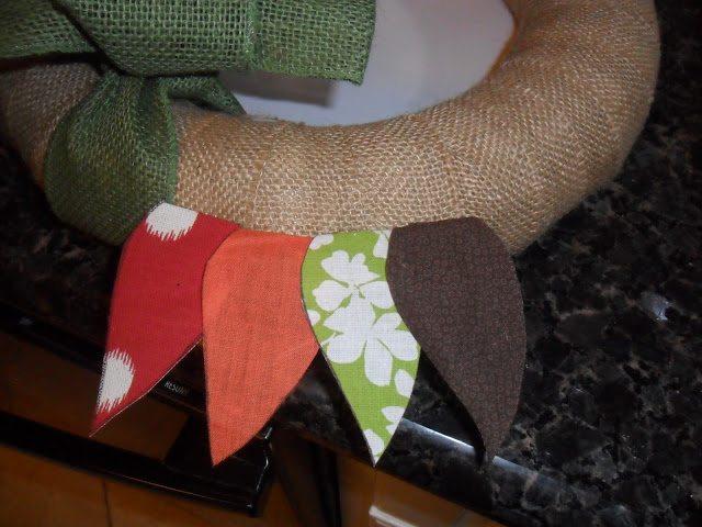 Autumn Wreath - Attach fabric leaves