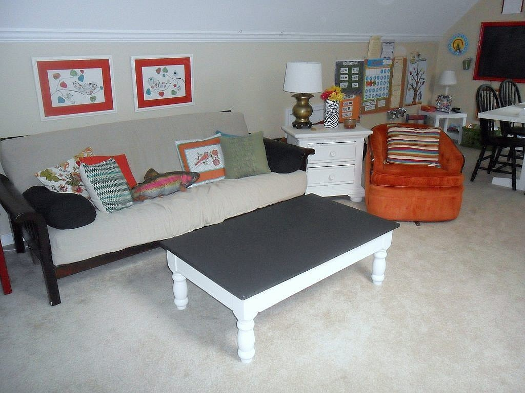 homeschool room sitting area guest bed