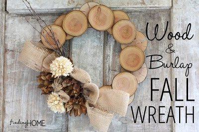 wood and burlap fall wreath