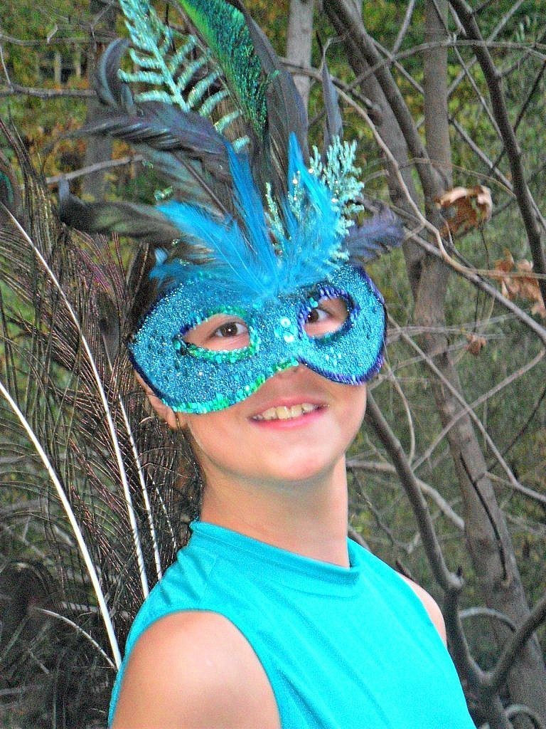 peacock costume - mask on