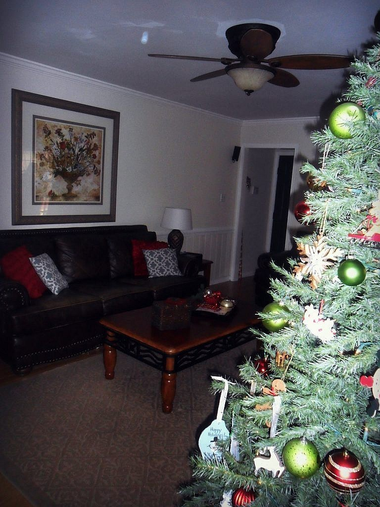 christmas house - living room tree back