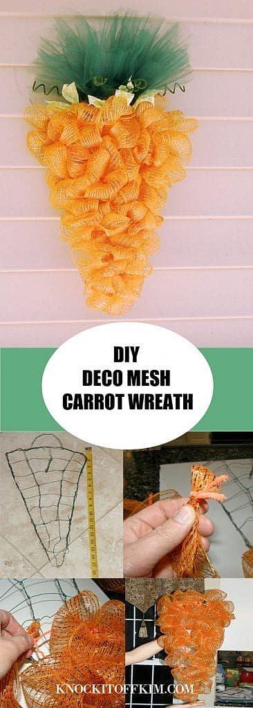 DIY decomesh carrot wreath