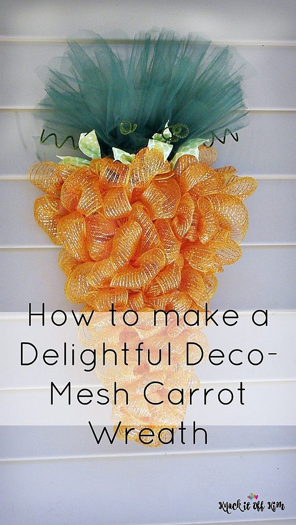 Make This Deco Mesh Wreath For Easter In The Shape Of A Carrot