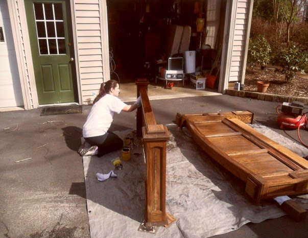 rustic headboard - restaining