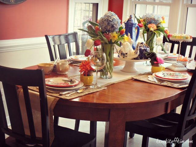 spring decorating tablescape