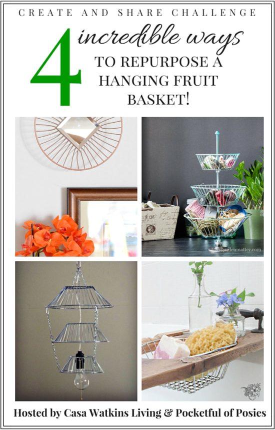 Repurpose Hanging Fruit Basket - Lamp