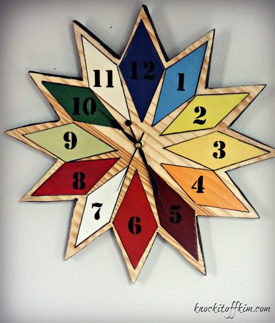 diy starburst wall clock - closeup