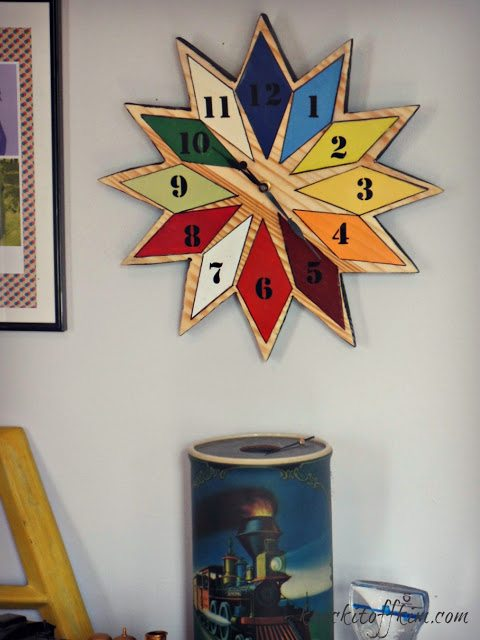 diy starburst wall clock - finished