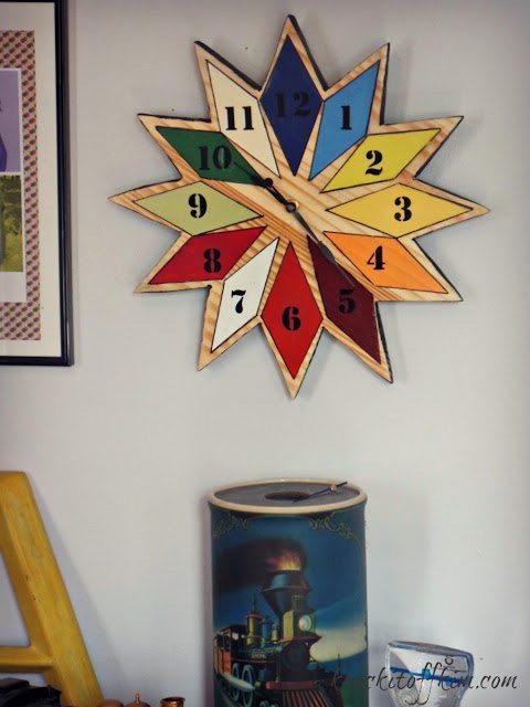 diy starburst wall clock - finished