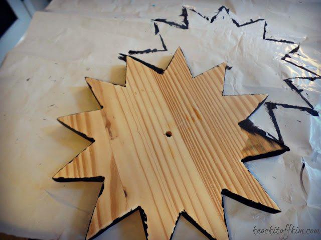 diy starburst wall clock - fix edges