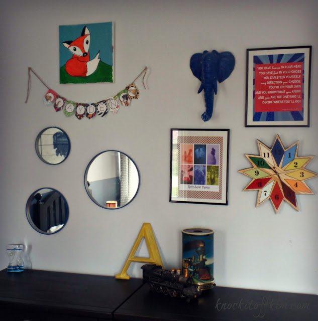 diy starburst wall clock - gallery wall