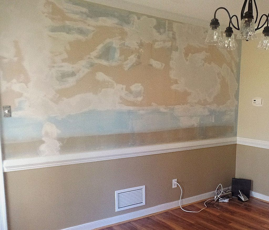 wall repair - paper removed after