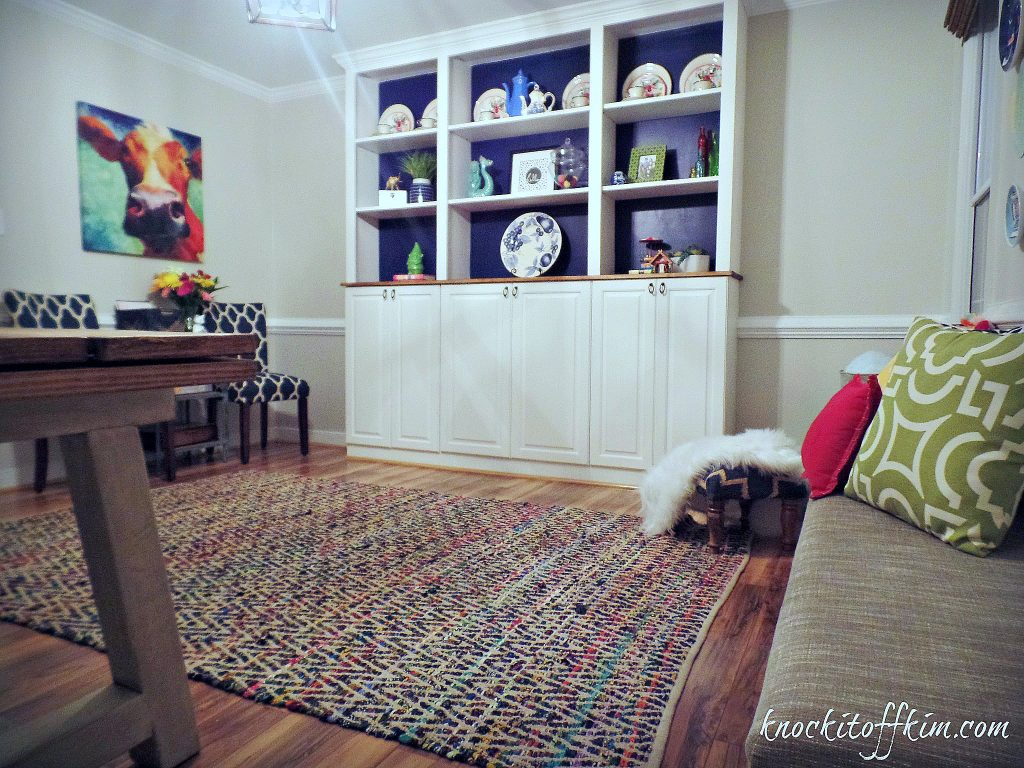 add built-in cabinets dining room playroom repurposed kitchen cabinets