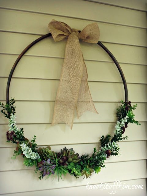 outdoor succulent wreath