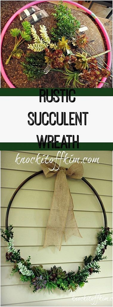 Learn how to make a succulent wreath using a hoola hoop