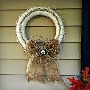 Fall Braided-Rope and Burlap Door Wreath