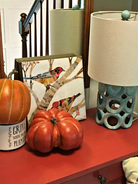 fall decorations for the home - front table