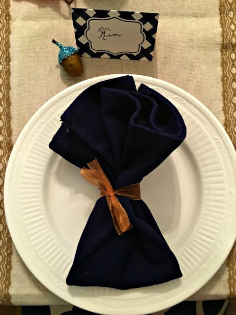 fall table setting with napkin