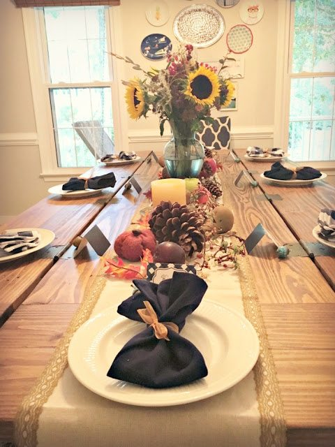 fall table setting dining room