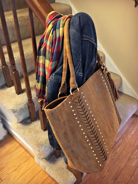 fall decorations for the home - scarves and bags