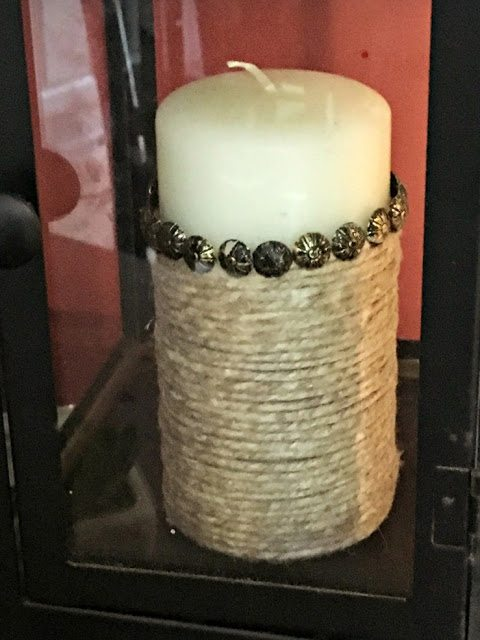 fall decorating - candle makeover