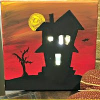 DIY Lighted Haunted House Canvas