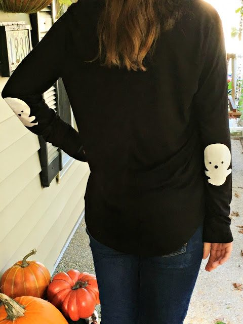 Halloween shirt Ghost elbow patch