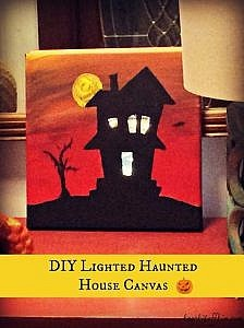 Lighted Haunted House Canvas