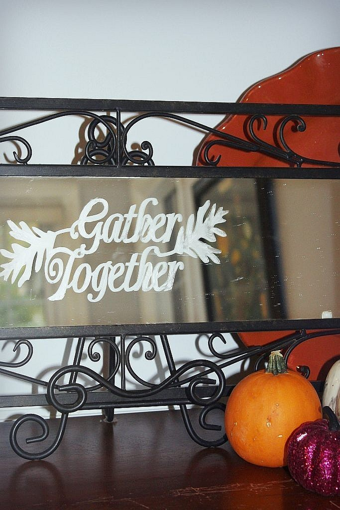Thanksgiving etched glass mirror