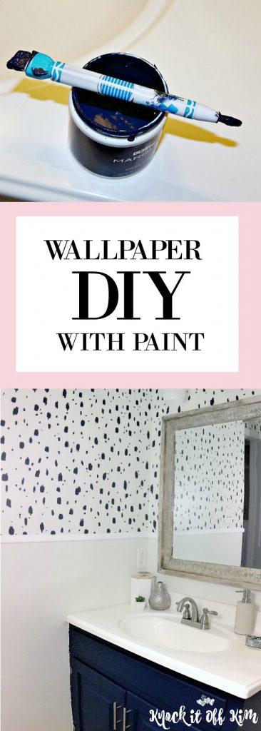 DIY Stencil Painted Wallpaper