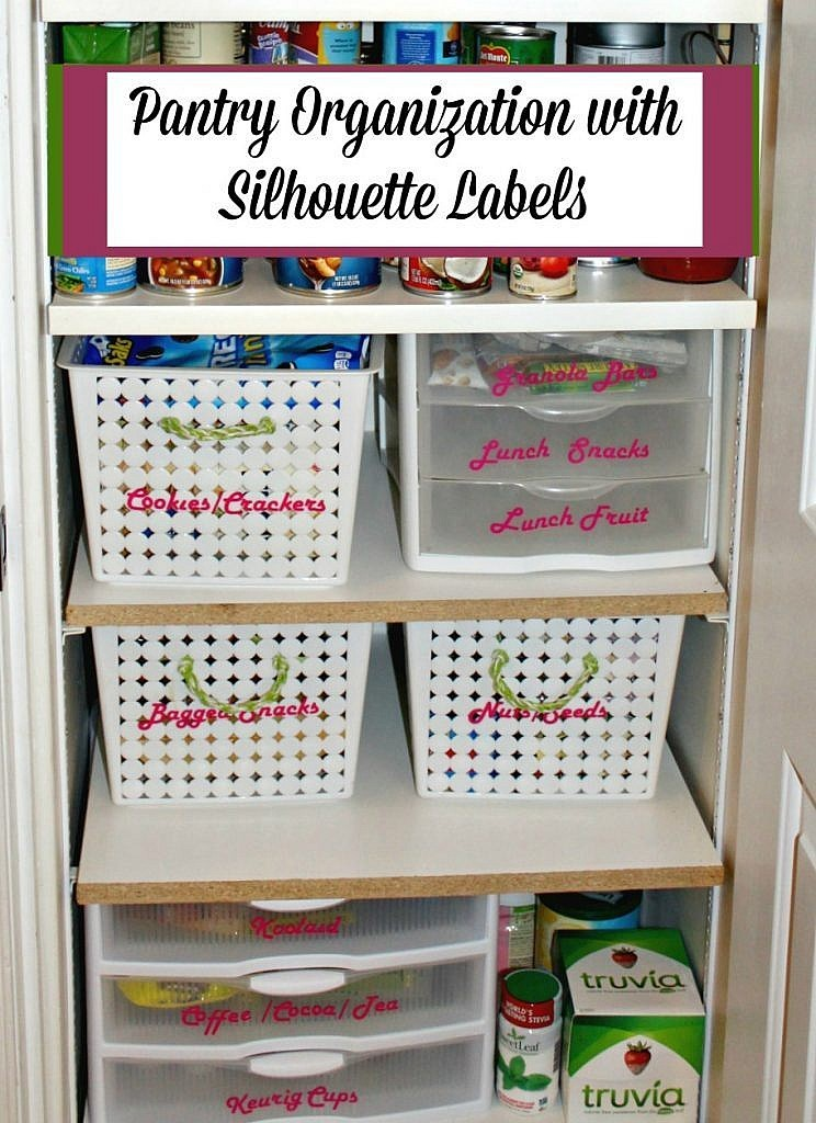 Kitchen pantry organization ideas and DIY labels cut with a Silhouette