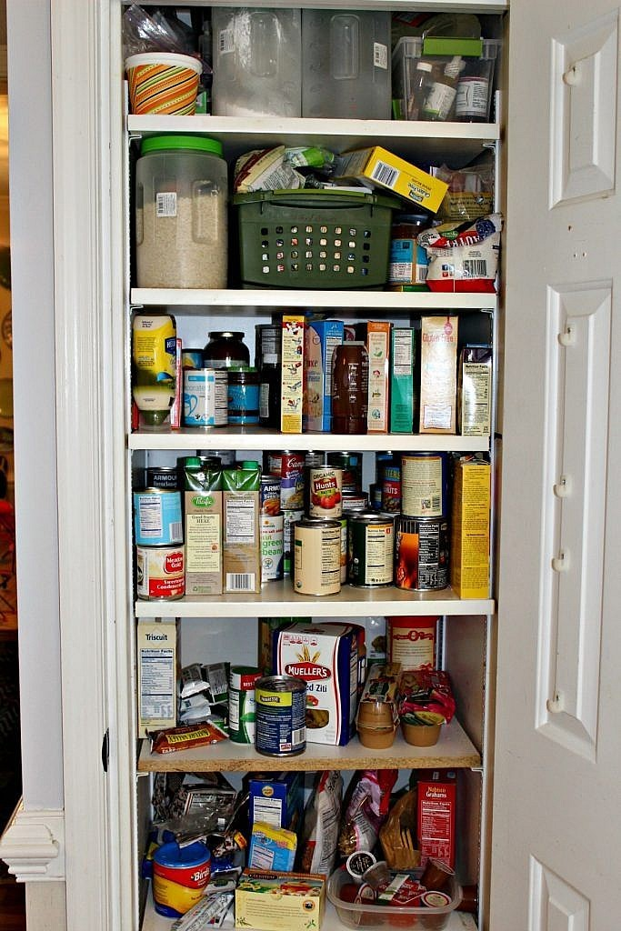 Kitchen pantry organization ideas and DIY labels cut with a Silhouette - before