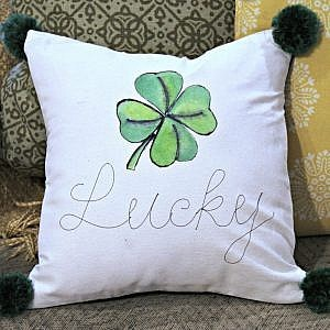St. Patrick's Day Watercolor Painted Pillow Cover