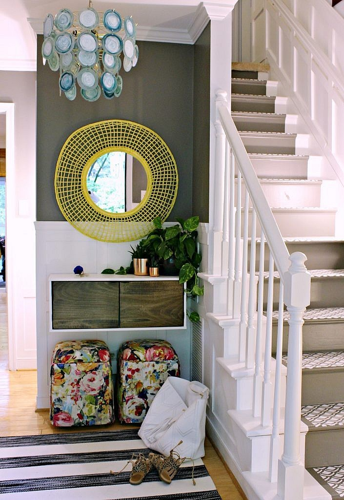3-Colorful modern budget foyer makeover