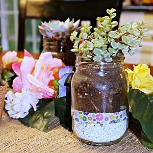 How to Make an Easy Boho Themed Centerpiece with Glass Jars