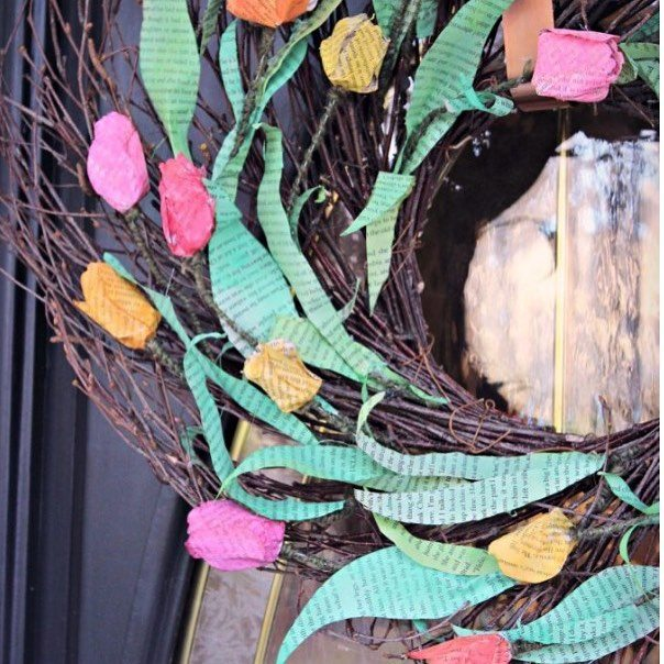This vibrant paper tulip wreath is a great reminder thathellip