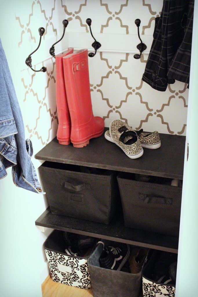 Coat Closet Makeover Close Up Boots