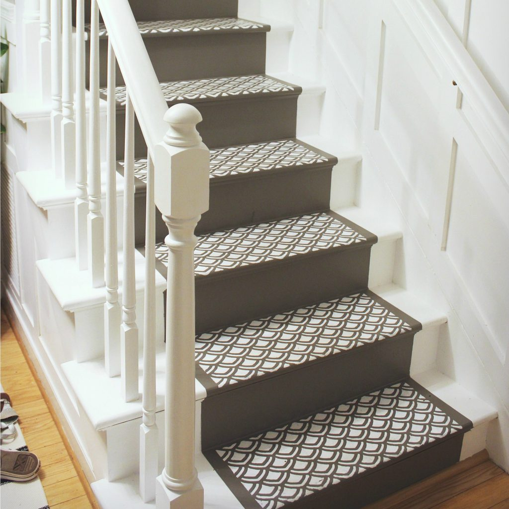 Painting Stairs How To Paint With A Faux Runner